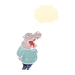 retro cartoon hippo with thought bubble