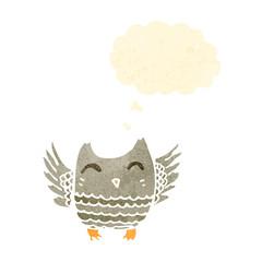 cute little owl retro cartoon
