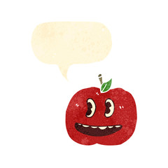 retro cartoon grinning apple