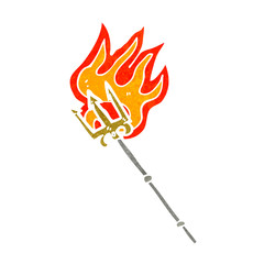 retro cartoon flaming trident