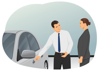 Smiling salesman is showing new car to a woman customer