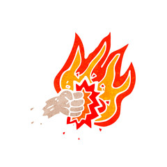 flaming punch symbol retro cartoon