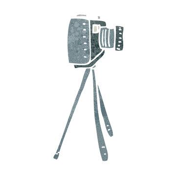 retro cartoon camera on tripod