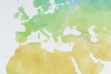 Mappa Europa, Africa e Medio Oriente, disegnata a  mano, acquarello - fototapety na wymiar