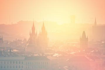 Wall Murals Prague Prague Cityscape on Misty Morning, Retro Toned