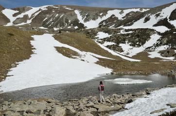 Mountain cirque with a glacial lake in the Madriu-Perafita-Claror valley