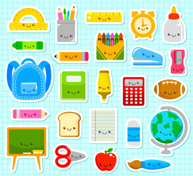collection of cute cartoon school supply items