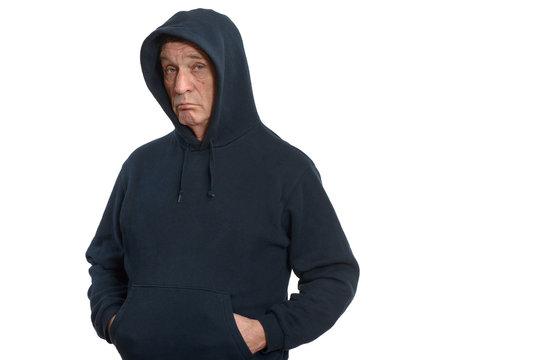 Elderly man in a dark sports jacket