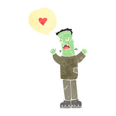 retro cartoon frankenstein's monster in love