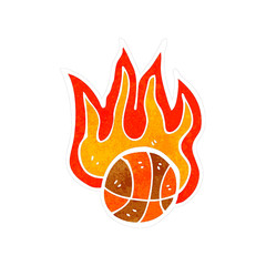 retro cartoon flaming basketball
