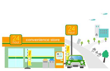町並みの中のコンビニ(コンビニエンスストア)、駐車場、正面、街並みの中の、コンビニ、