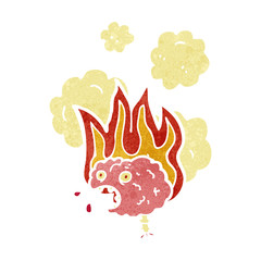 retro cartoon brain on fire