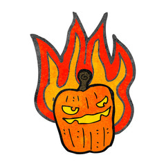 retro cartoon burning halloween pumpkin