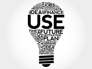 USE bulb word cloud, business concept