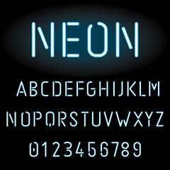Blue neon light alphabet, vector illustration
