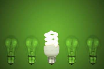 light bulbs with centre Low energy light bulb glowing