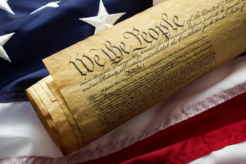 Constitution on American flag