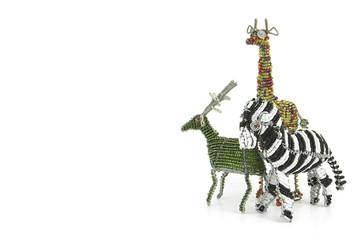 beaded African animal Craft of a Zebra, girafe and buck