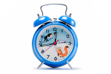 Alarm clock with white background and picture on clock face
