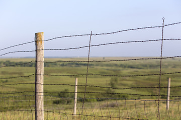 barbed wire fence at Maxwell Wildlife Preserve, Kansas