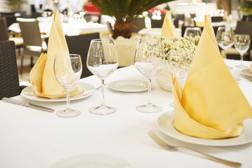 Fine dining restaurant/Fine dining restaurant. Dinner table place setting.