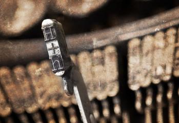 H hammer - old manual typewriter - warm filter