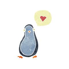 retro cartoon penguin in love