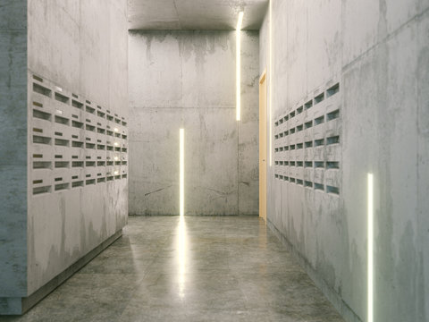 minimalistic room with concrete surfaces ( post boxes on two sid
