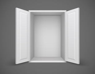 Empty white box with open doors and nothing inside. Eps10