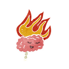 retro cartoon flaming brain