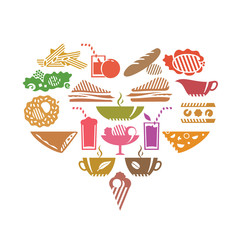 Foods and drinks in heart shape