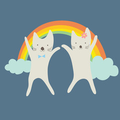 Cute couple cats happy under the rainbow.