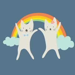 Cute couple cats happy under the rainbow.