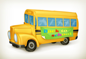 Yellow school bus, back to school vector icon