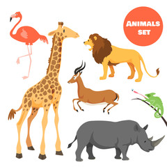 Cute african animals set for kids in cartoon style. Suitable for