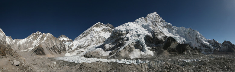 Mount Everest and the Khumbu Glacier, Himalayas, Nepal.