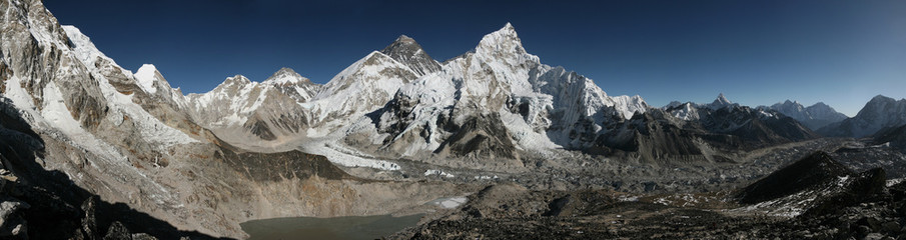 Mount Everest and the Khumbu Glacier from Kala Patthar, Himalaya