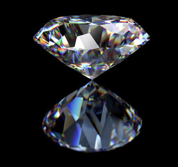 diamond isolated on black background with clipping path