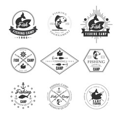 Vintage pike fishing emblems, labels and design elements