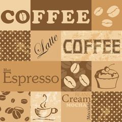 Vector seamless tiling patterns - coffee