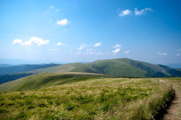 Carpathian mountains summer landscape  with green sunny hills wi
