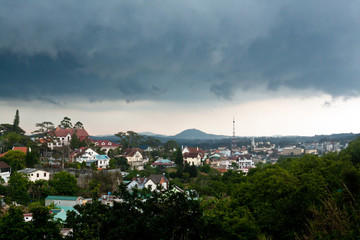 Panoramic view of Dalat city in rainy weather
