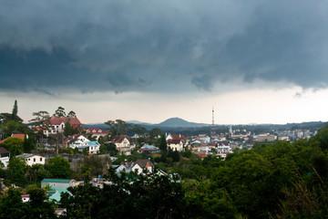 Panoramic view of Dalat city in rainy weather