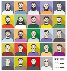 Vector set of icons. Bearded men.