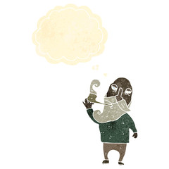 retro cartoon old man with thought bubble