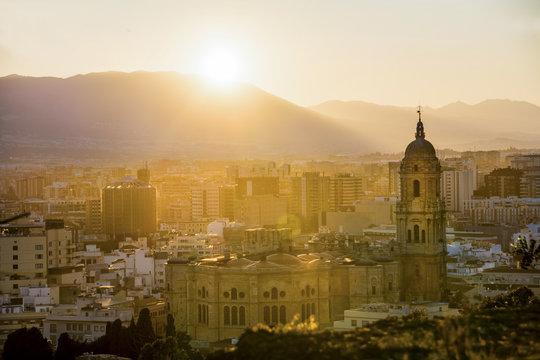 Málaga Cathedral at Sunset
