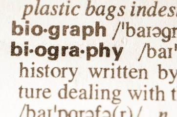 Dictionary definition of word biography