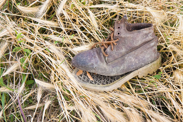 Old broken boot abandoned in a grass carpet