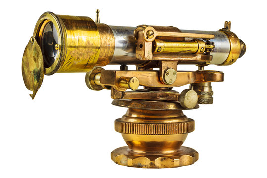 Ancient telescope isolated on white
