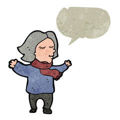 retro cartoon middle aged woman with speech bubble